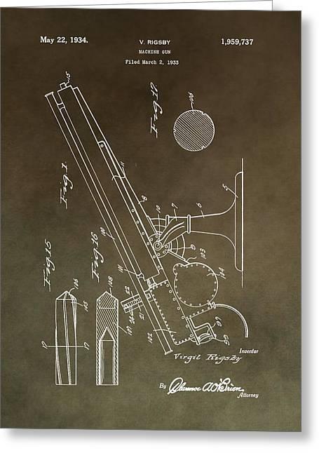 Vintage Machine Gun Patent Greeting Card