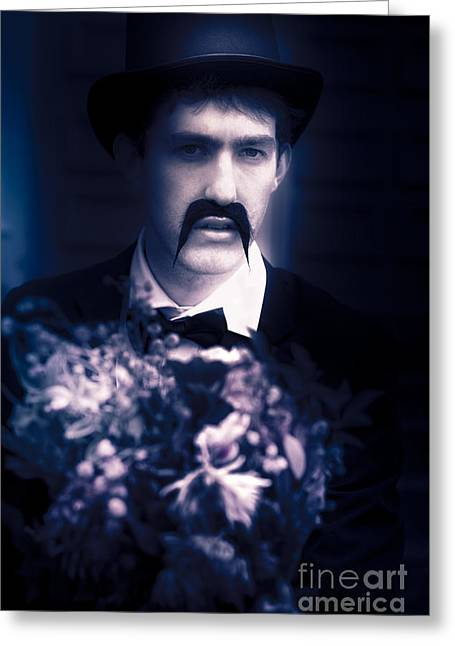 Vintage Man With Flowers Greeting Card by Jorgo Photography - Wall Art Gallery