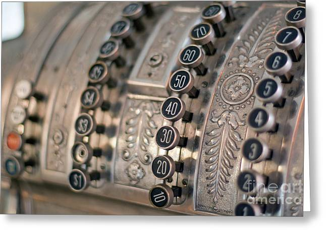 Greeting Card featuring the photograph Vintage Metal Cash Register by Gunter Nezhoda