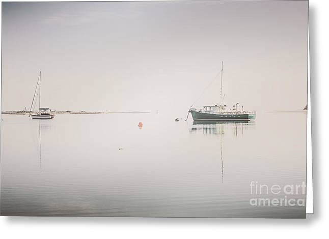 Vintage Photo Of A Fishing Boat Anchored At Dusk Greeting Card