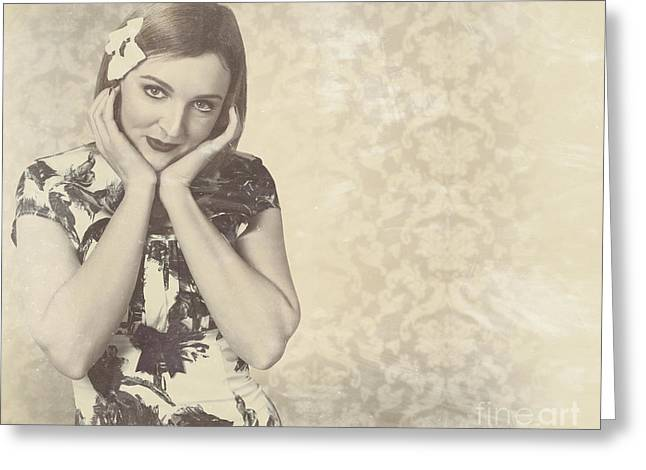 Vintage Photograph Of A Vintage Hollywood Actress Greeting Card by Jorgo Photography - Wall Art Gallery