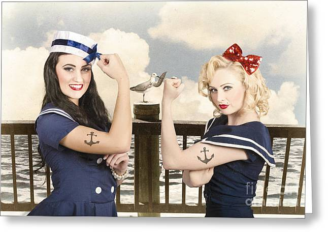 Vintage Pinup Style. Two Retro Sailor Pinup Girls Greeting Card by Jorgo Photography - Wall Art Gallery