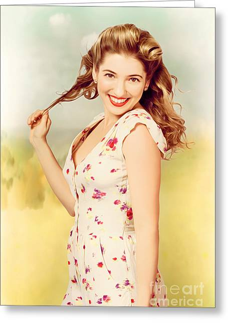 Vintage Pinup Woman With Pretty Make-up And Hair Greeting Card by Jorgo Photography - Wall Art Gallery