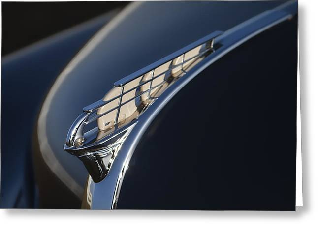Vintage Plymouth Hood Ornament Greeting Card by Carol Leigh