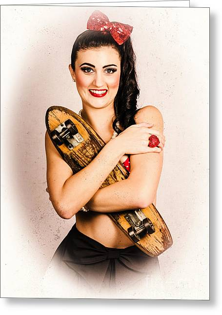 Vintage Portrait Of A Pin-up Model With Skateboard Greeting Card by Jorgo Photography - Wall Art Gallery