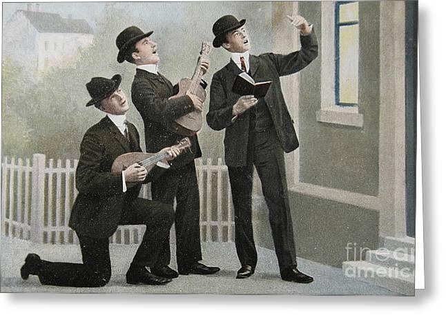 Vintage Postcard With Three Men Bringing An Aubade Greeting Card by Patricia Hofmeester