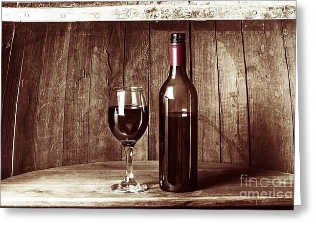 Vintage Red Wine In Old Winery Cellar Barrel  Greeting Card by Jorgo Photography - Wall Art Gallery