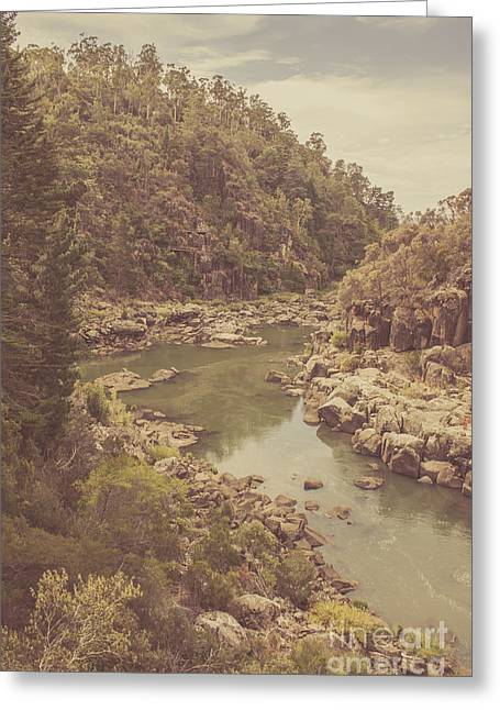 Vintage Rocky Mountain River In Forest Canyon Greeting Card by Jorgo Photography - Wall Art Gallery