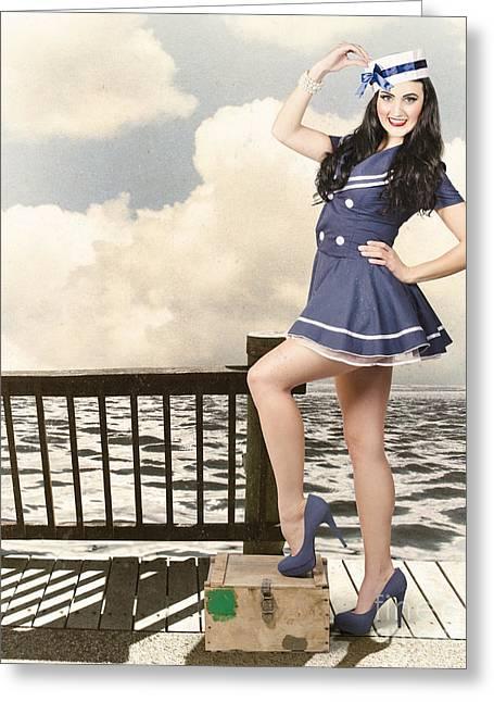 Vintage Sailor Girl. World Tour Travel Cruise Greeting Card