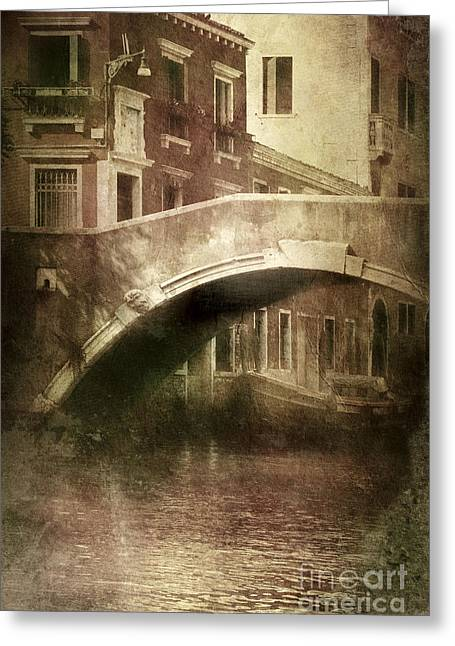 Vintage Shot Of Venetian Canal, Venice Greeting Card by Evgeny Kuklev