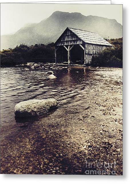 Vintage Style Landscape Of A Rustic Boat Shed Greeting Card