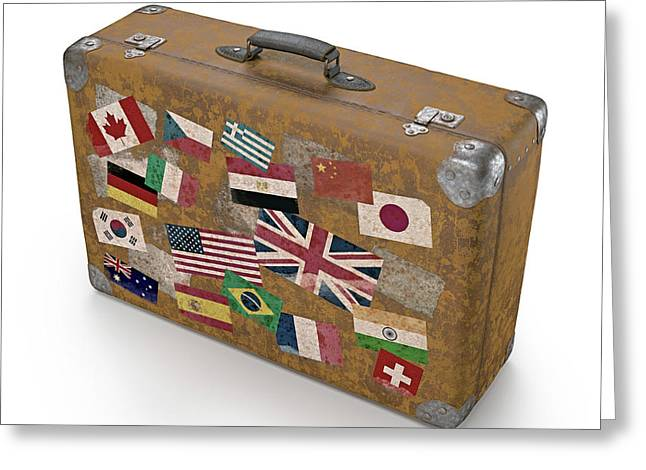 Vintage Suitcase With Stickers Greeting Card by Ktsdesign