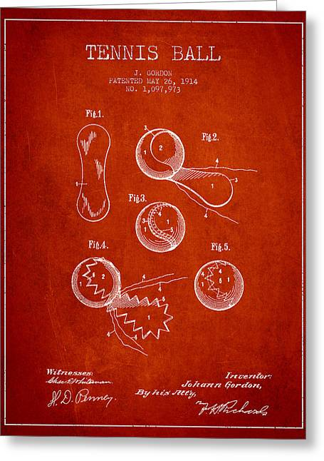 Vintage Tennnis Ball Patent Drawing From 1914 Greeting Card