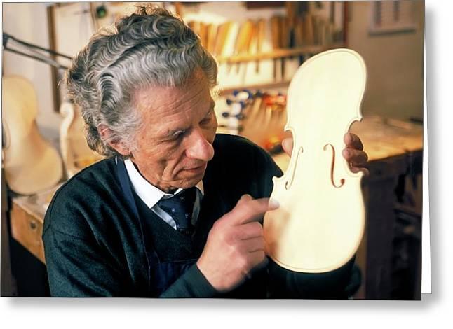 Violin-maker At Work Greeting Card