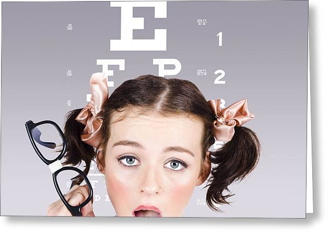 Vision Impaired Woman At Optometrist Greeting Card by Jorgo Photography - Wall Art Gallery