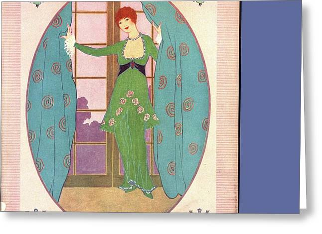 Vogue Cover Illustration Of A Woman In A Green Greeting Card by Helen Dryden