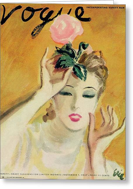 Vogue Cover Illustration Of A Woman Putting Greeting Card by Carl Eric Erickson