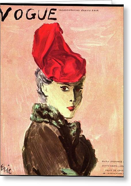 Vogue Cover Illustration Of A Woman Wearing A Red Greeting Card by Carl Eric Erickson