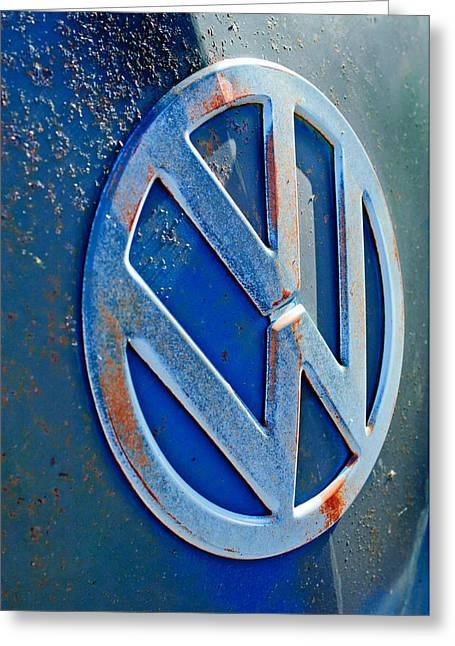 Volkswagen Vw Bus Front Emblem Greeting Card by Jill Reger