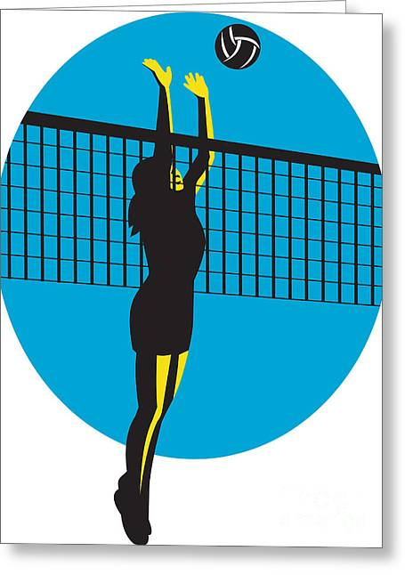 Volleyball Player Spiking Ball Retro Greeting Card by Aloysius Patrimonio