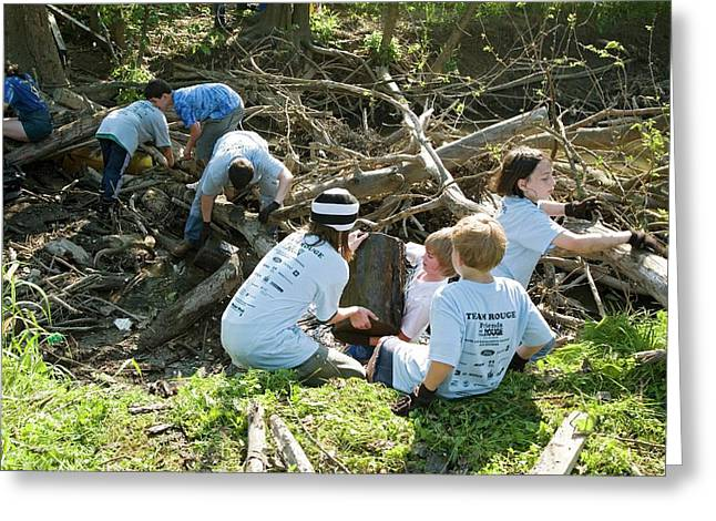 Volunteers Clearing Logs Greeting Card by Jim West