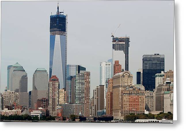 1 W T C And Lower Manhattan Greeting Card by Rob Hans