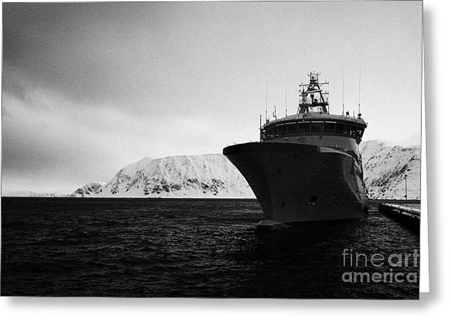 w340 kv barents sea norwegian coast guard kystvakt vessel Honningsvag finnmark norway europe Greeting Card by Joe Fox