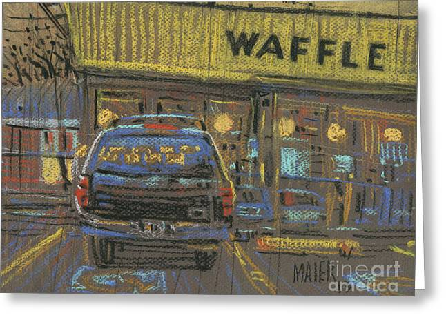 Greeting Card featuring the painting Waffle House by Donald Maier