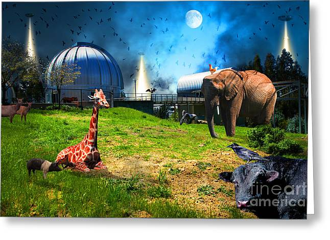 Waiting To Be Abducted By The Visitors At The Chabot Space And Science Center In The Hills Of Oaklan Greeting Card by Wingsdomain Art and Photography