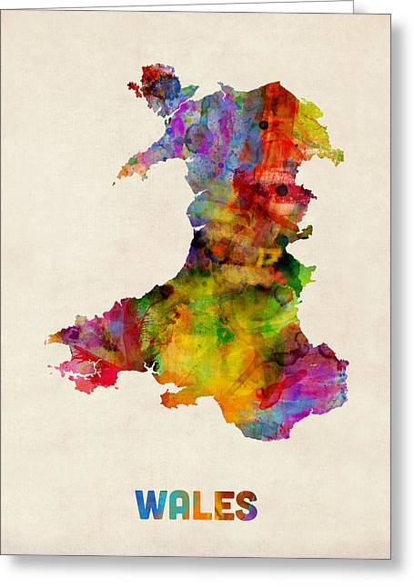 Wales Watercolor Map Greeting Card by Michael Tompsett