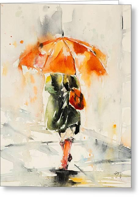 Walk In Rain Greeting Card by Kovacs Anna Brigitta