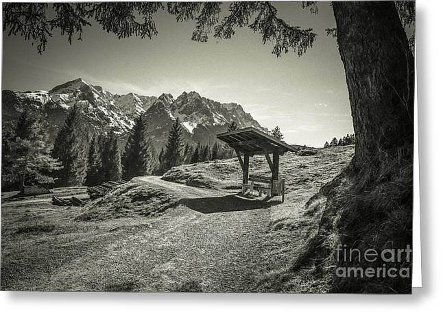 walking in the Alps - bw Greeting Card