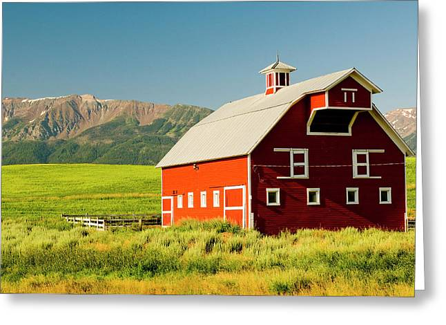 Wallowa Mountains And White Barn Greeting Card