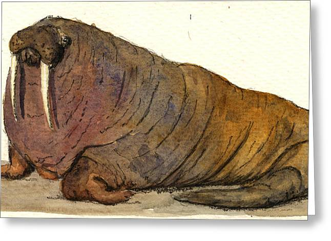 Walrus Greeting Card by Juan  Bosco