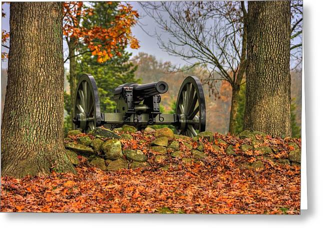Greeting Card featuring the photograph War Thunder - The Charlotte North Carolina Artillery Grahams Battery West Confederate Ave Gettysburg by Michael Mazaika