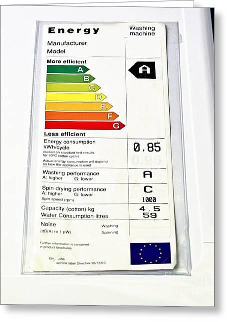 Washing Machine Energy Rating Label Greeting Card