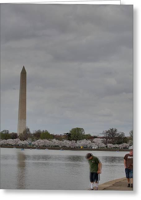 Washington Monument - Cherry Blossoms - Washington Dc - 011313 Greeting Card by DC Photographer