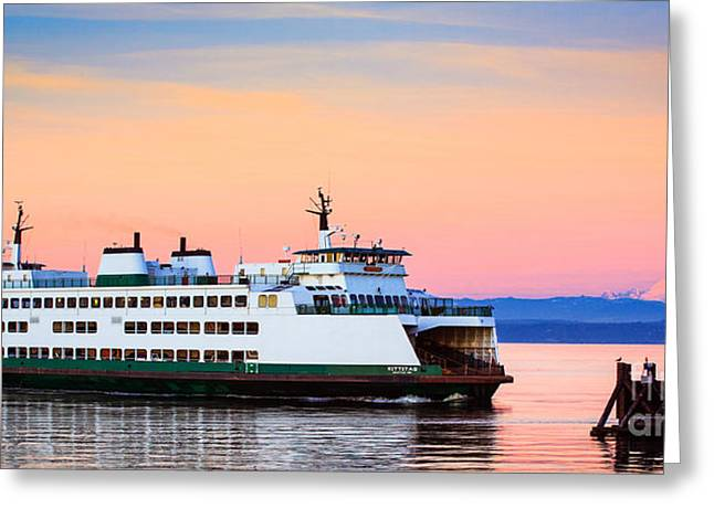 Washington State Ferry Greeting Card by Inge Johnsson