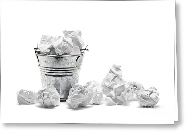 Waste Basket With Crumpled Papers Greeting Card by Shawn Hempel