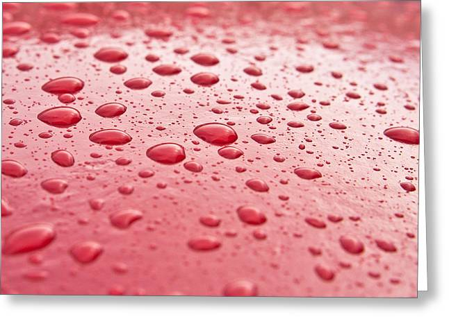 Water Droplets Greeting Card by Tom Gowanlock