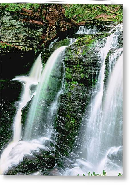 Water Falling From Rocks, Dingmans Greeting Card