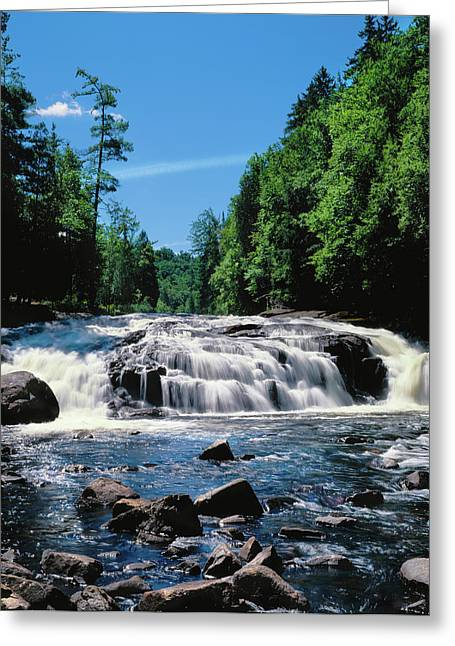 Water Flowing From Rocks In A Forest Greeting Card