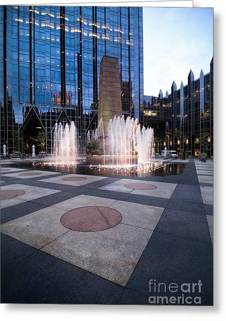 Water Fountain At Ppg Place Plaza Pittsburgh Greeting Card by Amy Cicconi