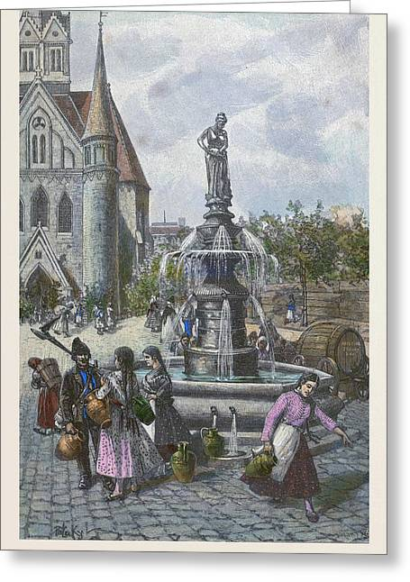 Water Fountain In Szeged Hungary Greeting Card by Hungarian School