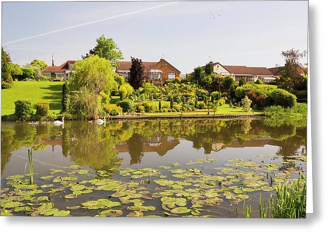 Water Front Houses In Barrow Upon Soar Greeting Card by Ashley Cooper