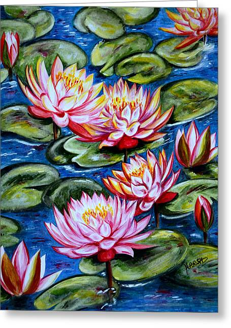 Greeting Card featuring the painting Water Lilies by Harsh Malik