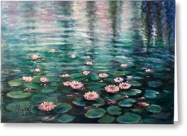 Greeting Card featuring the painting Water Lilies by Laila Awad Jamaleldin