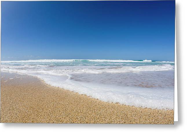 Water Washing Up On The Beach, Barking Greeting Card by Alvis Upitis