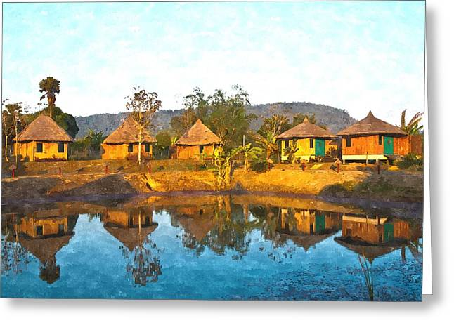 watercolor of bamboo cottages and and thier reflections in pond in Nakorn Ratchasima in Thailand Greeting Card by Ammar Mas-oo-di