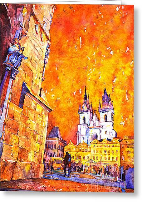 Watercolor Of Prague Sunrise Greeting Card by Ryan Fox